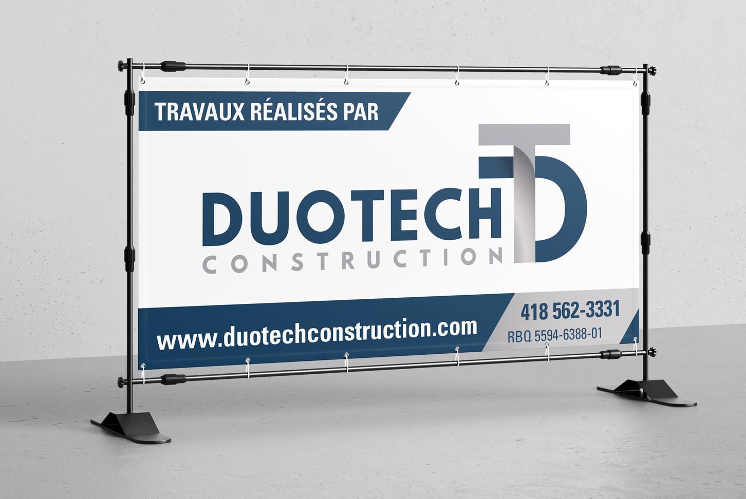 Duotech Construction - Design graphique d'une pancarte de chantier