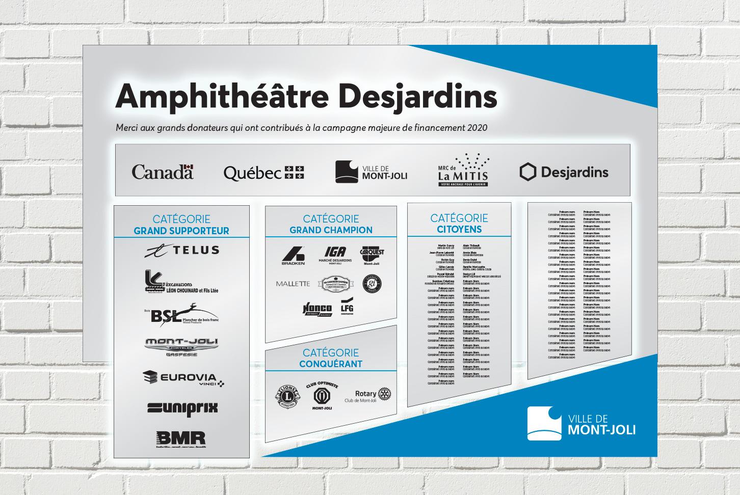 Design LB - Amphithéâtre Desjardins - Tableau d'honneur épreuve